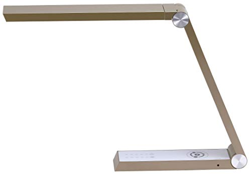 Bostitch Gold Desk Lamp with Wireless Charging, USB Ports, Adjustable Brightness, Triangle Shape
