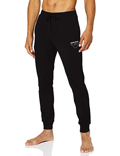 Emporio Armani Underwear Herren Homewear-Thin Eagle Trousers Sporthose, Schwarz (Nero 00020), W(Herstellergröße:L)