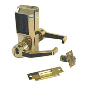 Simplex LR1021B-03-41 Right Hand Mechanical Push Button Lock With Small Format IC Prep Bright Brass Finish
