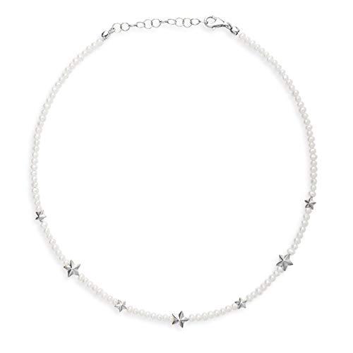 Drachenfels Collier in Echtsilber   Kollektion Sternenglanz & Schattentanz   Halskette mit Sternen und Perlen aus 925 Sterlingsilber mit Karabiner