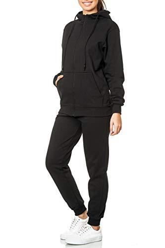 L.gonline Damen Jogginganzug Uni 586 | Baumwolle | Trainingsjacke mit Reißverschluss | Hose mit Gummizug und Zugband | Rippstrickbündchen | Schwarz, L