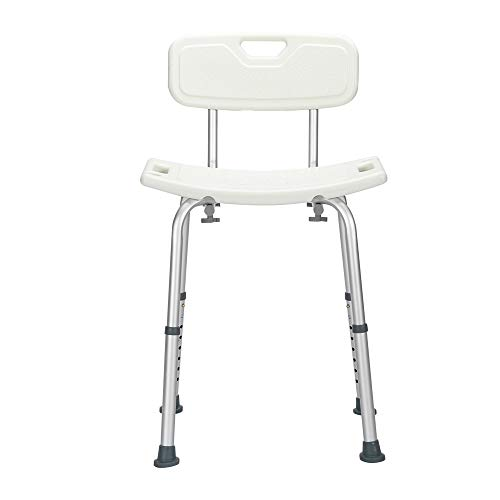 Shower Chairs for Seniors,Aluminum Alloy Lifting Bath Chair 8 Files with Backrest Pe Seat Stool Rubber Floor Mat White