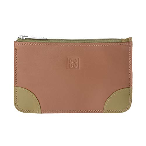 Bustina portatutto donna in vera pelle colorata con zip e 3 tasche porta carte DUDU Safari