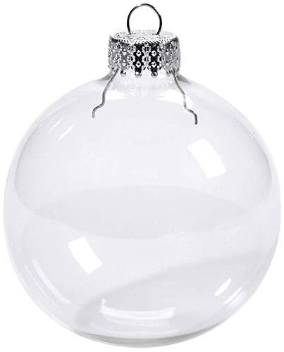 Darice 12-Piece Heavy Duty Glass Balls Clear Glass, 70mm