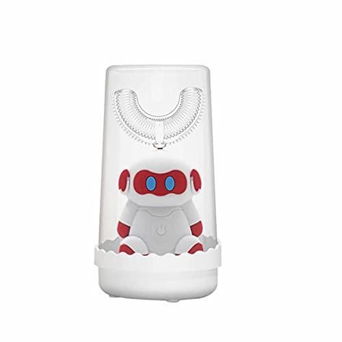 FDHT Cepillo de Dientes eléctrico, Cepillo de Dientes eléctrico en Forma de u para niños, cerdas de silicio Blando, Limpieza en Tres etapas, ipx7 a Prueba de Agua Gray- 6-12 Years Old