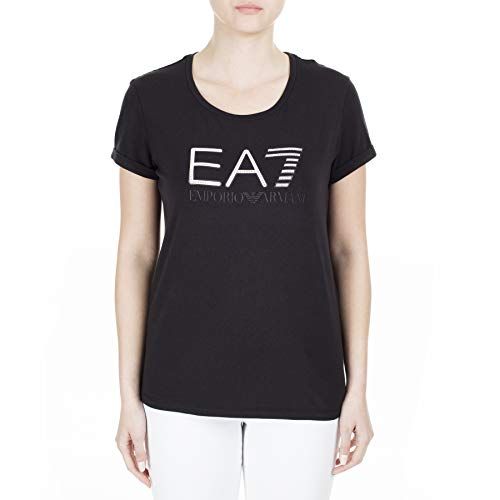 Emporio Armani EA7 TJ12Z - Camiseta de manga corta para mujer con logotipo de estrás, camiseta de algodón 3HTT30