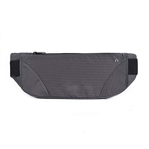 Super Lightweight, Unisex Slim Invisible Sports Waterproof Fanny Pack, Elastic Adjustable Running Travel Outdoor Waist Bags, Suitable for Man Women iPhone Xs Max X 8 7 6 Belt Sport Pouch (Gray)