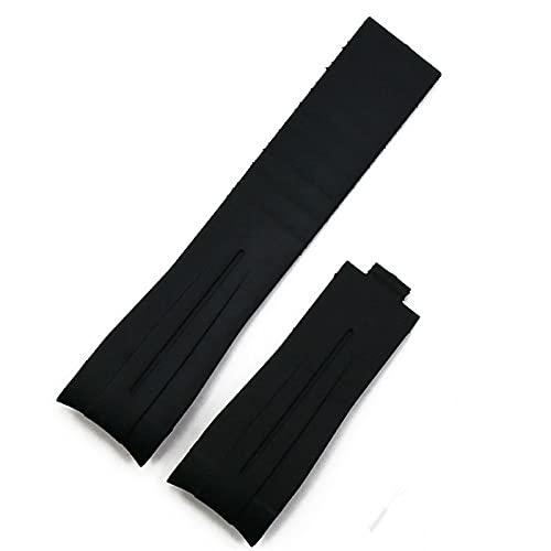 LBWNB Gomma di Gomma per Rolex Daytona 20mm Uomo Strap Watch Accessori per Orologio in Silicone Catena Braccialetto (Band Color : Black Band, Band Width : 20mm with Logo)