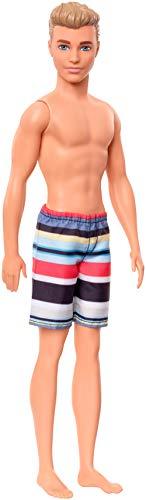 Barbie GHW43 - Beach Ken Puppe mit Streifenshorts, Spielzeug ab 3 Jahren
