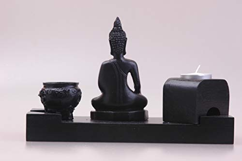MYFAVORITES Kerzenhalter mit Buddha aus Holz – Deko Artikel für Wohnung und Haus (Teelicht ist im Lieferumfang Nicht enthalten)