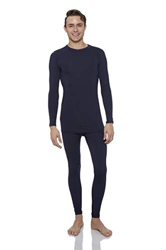 Rocky Thermal Underwear for Men Midweight Fleece Lined Thermals Men's Base Layer Long John Set (Navy - Midweight (Fleece) - X-Large)