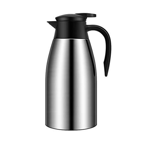 Bouilloire sous vide de grande capacité, bouilloire chauffante isolante pour cafetière sous vide à double cuve en acier inoxydable de 12 heures-Silver