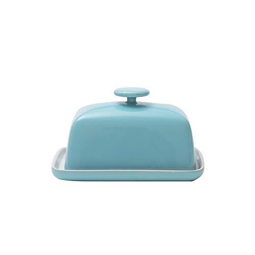 WLWWCX Scatola per Burro, Porta-Burro in Ceramica, Vassoio Porta-Formaggio Porta-Burro, 15,5 x 9,5 x 10,5 cm (Blue)