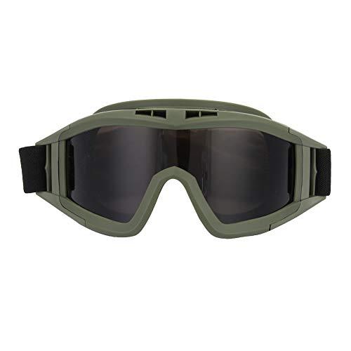 SANON Motorradbrille Taktische Schutzbrille Airsoftbrille mit 2 Austauschbaren Mehrfachlinsen zum Schießen/Paintball/Wandern/Skifahren/Reiten (Armeegrün)