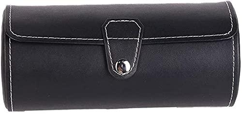 ウォッチボックス 黒1色の時計ローラースタンド時計のディスプレイキャビネット3グリッド光気筒のポータブルストレージボックスの宝石類のギフト ストレージとディスプレイ用 (Color : Black, Size : 19x9x9cm)