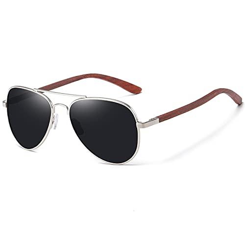 FENGHUAN Gafas de sol para mujer Pierna de madera roja con marco de metal Gafas de sol Hombres Mujeres Gafas de sol de madera Negro