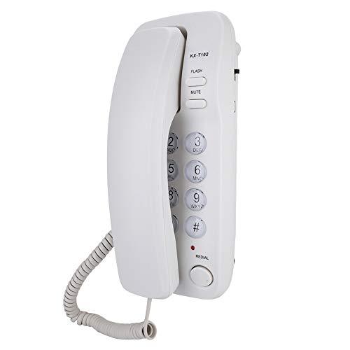 ASHATA Wandtelefon Schnurgebundes Telefon,Desktop Wand Schnurtelefon Kompakttelefon Mit Wahlwiederholung,Festnetztelefon Analog Telefon Flash-Funktion für Hause Büro Hotel(Weiß)