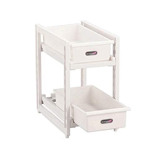 HAIYU- 2-laags Keukenplank met Glijdende Dozen Vrijstaande Opbergplank voor Opbergruimte Opbergruimte Onder de Wastafel voor Keuken en Badkamer, Wit
