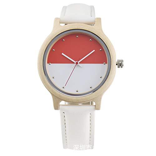 Xlin Mesa De Cuarzo De Reloj De Madera para Mujer (Color : Red White)