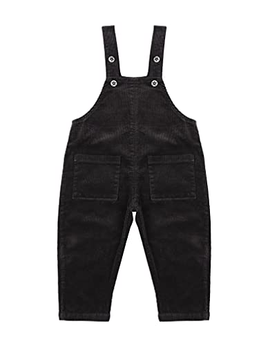 Kaerm Baby Boys Girls Overalls Solid Color Knitting Romper High Waisted Pants One Piece Bodysuit with Pockets Dark Gray 18-24 Months