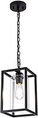 MAYNA Industrial Retro Pendant Lighting Iron Chandelier with Modern Clear Glass Shade?Matte Black Cage Hanging Light Fixture for Kitchen Island?Farmhouse, Dining Room, Foyer