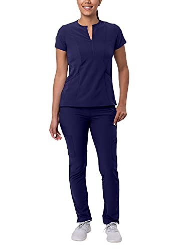 Adar Addition Go-Higher Scrub Set for Women - Notched V-Neck Scrub Top & Skinny Cargo Scrub Pants - A9600 - Navy - L