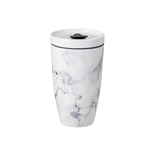 like. by Villeroy & Boch To Go Becher Marmory, 350 ml, Premium Porzellan/Silikon, Weiß/Grau