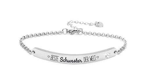 Silvity Damen Gravur-Armband Edenlstahl veredelt mit einem Swarovski¨ Kristall Motiv: