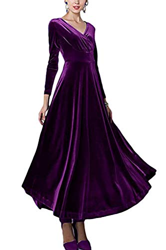 Sevozimda Damen Samt Kleider Lang Langarm V-Ausschnitt Elegant Party Maxi Kleid Purple XXL