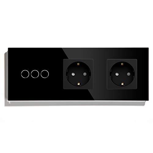 BSEED Interruptor con Enchufe Doble,3 Gang 1 Vía interruptor luz pared con Enchufe de pared,Negro Interruptor tactil de Luz pared con indicador LED,enchufes de extensión con panel de vidrio templado