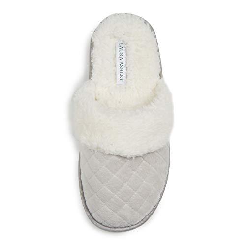 Laura Ashley Ladies Spa Diamond Velour Terry W/Faux Fur Slippers Grey