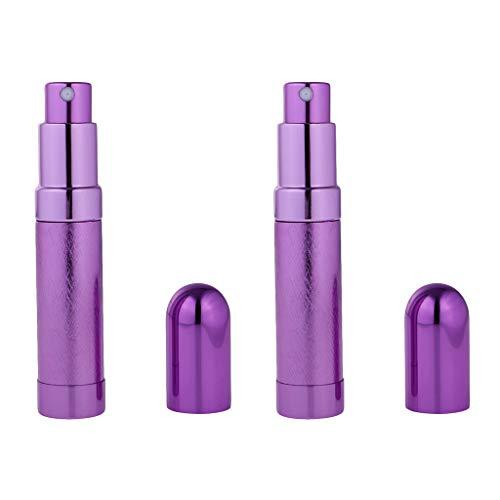 chiwanji El Viaje Recargable del Atomizador de La Botella del Espray de Perfume del Vidrio Vacío de 8ml Lleva Púrpura