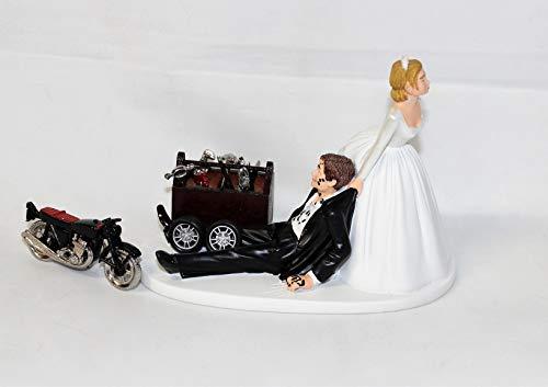 Wedding Motorcycle Biker Garage Mechanic grease Cake Topper
