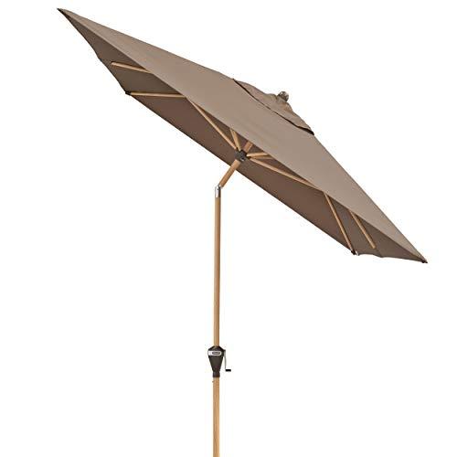 Doppler Alu Wood – Rechteckiger Sonnenschirm für Balkon und Terrasse – Edle Holzoptik – 300x200 cm – Greige