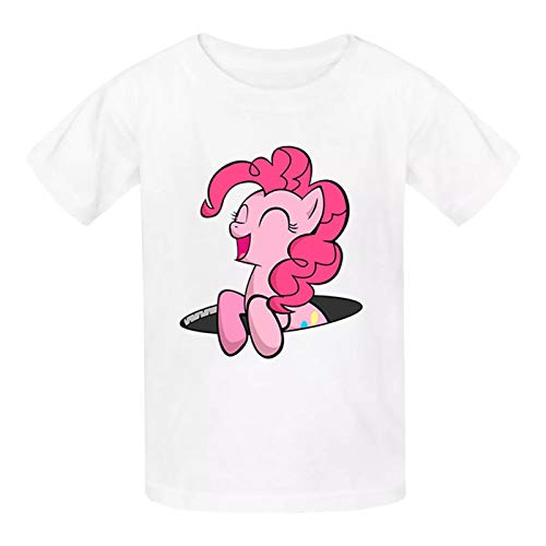 Kid's P-Ink_ie P-ie Laughing Graphic Tees Crewneck T-Shirt Cotton White Tops for Boys Girls M