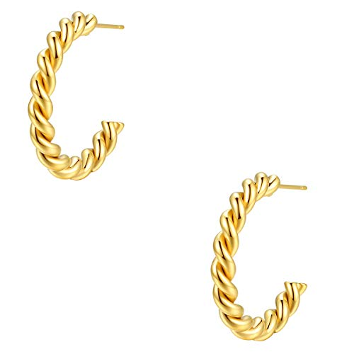 Happiness Boutique Damen Gedrehte Creolen in Gold Runde Ohrringe Creolen mit Twist 18K Goldüberzug Edelstahlschmuck Anlaufgeschützt