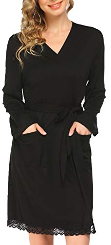 Pinspark Damen Leichter Morgenmantel Schwangerschaft Nachthemd Dünner Bademantel Kurz Hausmantel Baumwolle Nachtmantel Reisebademantel Kimono Still Pyjama Schwarz XL