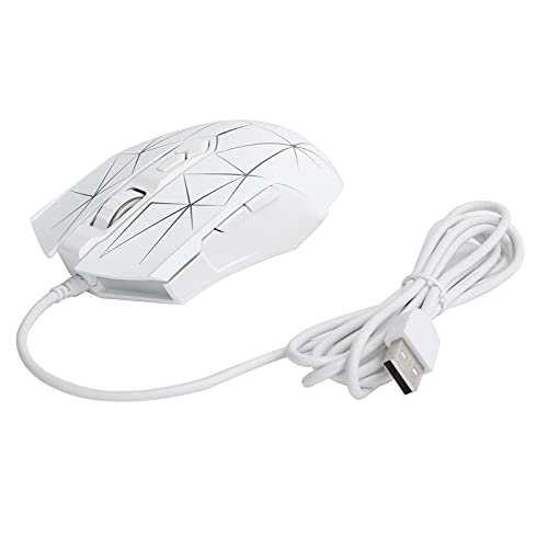 Wired Mouse 7 Button DPI Adjustable RGB Light Lightweight Software Macrodrive Computer Accessories AJ52 Streamlined Side Sensitive Smoother Operation(White)