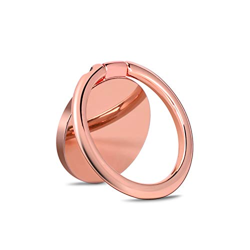 Phone Ring Holder 360° Rotation Metal Finger Kickstand Cell Phone Stand & Grip for Magnetic Car Mount Compatible with All Smartphones - Rose Gold