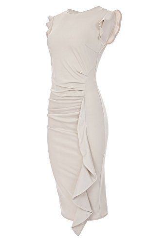 Laeticia Dreams Elegantes Damen Kleid Volant Etuikleid Wadenlang S M L XL, Farbe:Beige;Größe:40