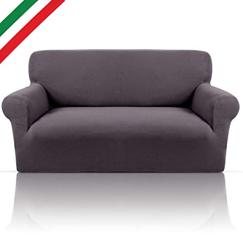 Funda de sofá bielástica elegante de suave tejido de algodón puro elástico apto para reposabrazos redondos o cuadrados Made in Italy funda de sofá extensible de 4 plazas (de 210 a 250 cm), color gris