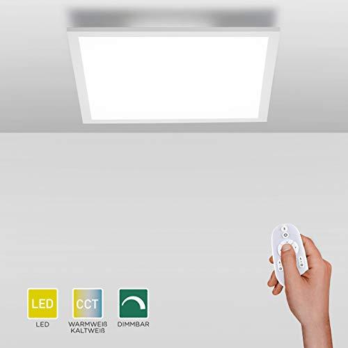 LED Panel flach, 62x62, dimmbare Decken-Lampe mit indirekter Deckenbeleuchtung | Farbtemperatur mit Fernbedienung einstellbar, warmweiss - kaltweiss | Decken-Leuchte für Wohnzimmer, Küche und Bad