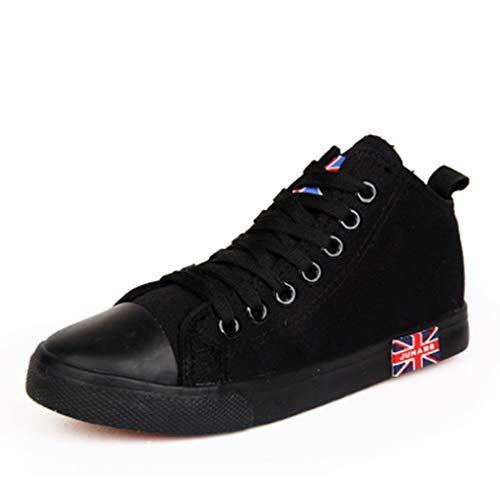 DJiess Mode féminine Baskets d'été Lacets de Style Classique de Couleur Unie Mid Top Chaussures de Toile Femelle Britannique Graffiti Casual Chaussures