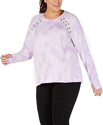 Ideology Womens Tie-Dye Comfy Sweatshirt Purple 2X
