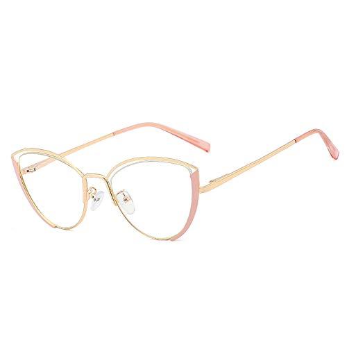 JJZXT Marcos de anteojos Circulares Vintage, anteojos de Lentes sin Receta, Montura de Gafas de Espejo Plano de Metal, Montura de anteojos Anti-Azul de Moda, para Mujeres, Hombres,Rosado