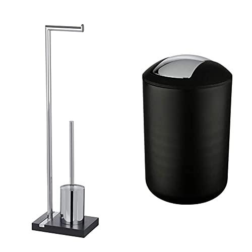 WENKO Stand WC-Garnitur Noble Black - WC-Bürstenhalter, Stahl, 20 x 74 x 15 cm, Chrom & Schwingdeckeleimer Brasil Schwarz L - Kosmetikeimer, 6.5 l, 19.5 x 31 x 19.5 cm, Schwarz