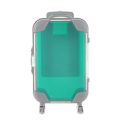 False Eyelashes Packaging Box,mini Trolley Luggage Design Lashes Suitcase Eye Lashes Packing Fluffy And Curly Case Empty(Green)
