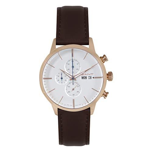 GANT Herren-Chronograph braun, weiß | Herrenuhr | Quarz | roségoldfarben