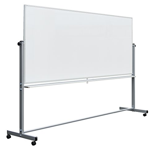 """Luxor Mobile Dry Erase Double-Sided Magnetic Whiteboard with Aluminum Frame and Stand - 96""""W x 40""""H"""