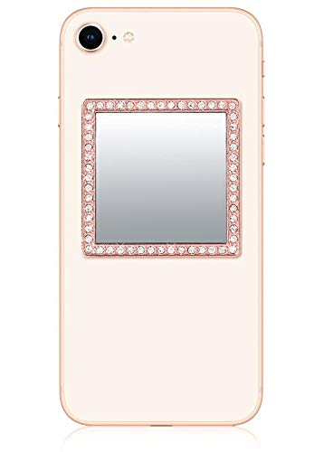 iDecoz Phone Mirror/Sticks on The Back of Your Phone or case. The Replacement for The Compact Mirror. It's The Best Way to Check Yourself Out On-The-Go! (Rose Gold w/Crystals)